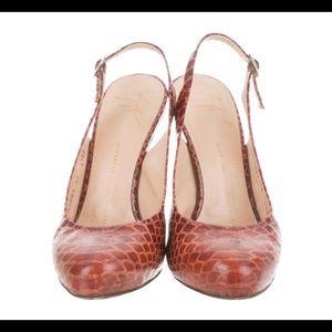 GIUSEPPE ZANOTTI Embossed Leather Platform Sandals